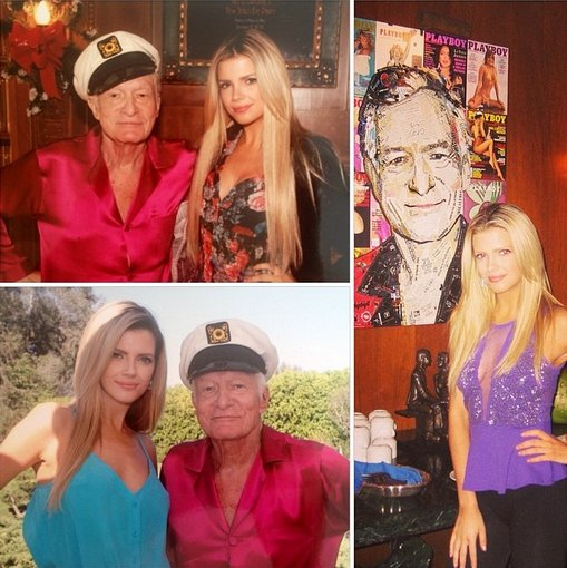 Miss September 2014 Stephanie Branton with Hugh Hefner